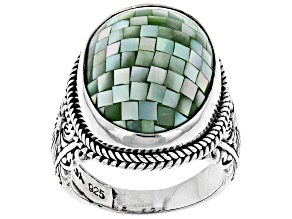 Green Mosaic Mother Of Pearl Silver Solitaire Ring