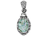 Green Mosaic Mother Of Pearl Silver Pendant