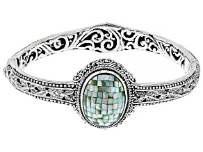 Green Mosaic Mother Of Pearl Silver Bracelet