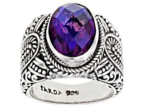 Purple Quartz Triplet Silver Ring