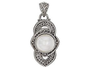 White Cultured Mabe Pearl Silver Pendant
