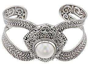 White Cultured Mabe Pearl Silver Cuff Bracelet
