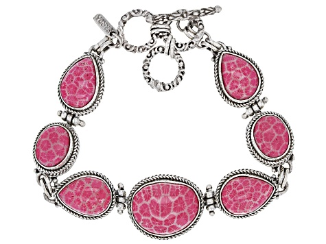 Pink Indonesian Coral Silver Bracelet