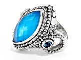 Blue Paraiba Color Quartz Triplet Silver Ring 0.62ctw