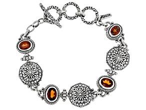 Red Hessonite Garnet Silver Bracelet 3.82ctw