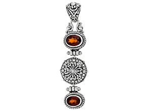 Red Hessonite Garnet Silver Pendant 1.91ctw