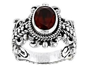 Red Hessonite Garnet Silver Ring 1.18ctw