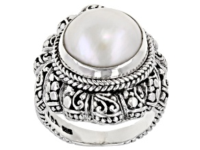 White Cultured Mabe Pearl Sterling Silver Solitaire Ring