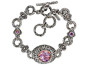 Pink British Tearose™ Quartz Silver Bracelet 4.05ctw