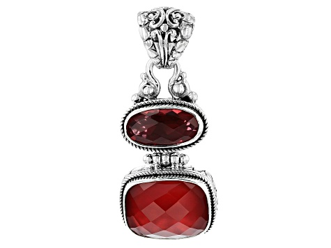 Ruby Red Mother Of Pearl Triplet Silver Pendant