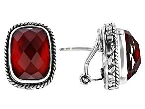 Ruby Red Mother Of Pearl Triplet Silver Earrings
