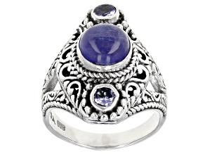 Blue Tanzanite Silver Ring 0.34ctw