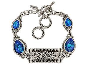 Rainbow Paraiba Color Caribbean Quartz Triplet Silver Bracelet