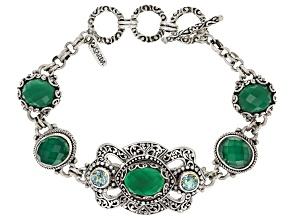 Green Onyx Silver Bracelet 1.64ctw