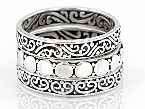 Sterling Silver Stackable Ring Set Of Three