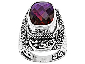 Rainbow Red Volcanic Quartz Triplet Silver Ring