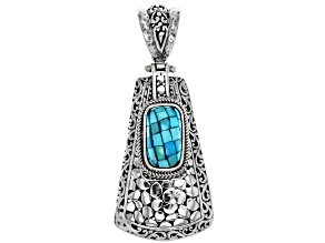 Turquoise Mosaic Silver Pendant