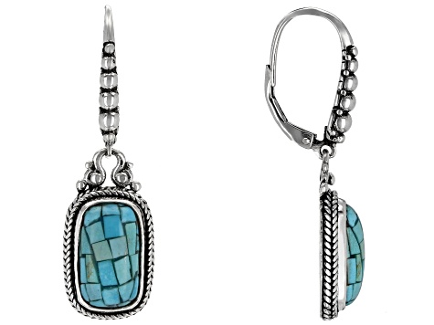 Turquoise Mosaic Silver Earrings