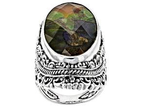 Multicolor Ammolite Doublet Silver Ring