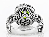 Multicolor Rainbow Peridot Triplet Silver Ring