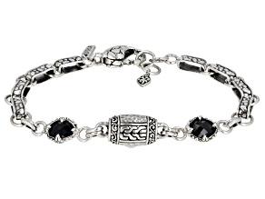 Black Spinel Sterling Silver Bracelet 1.28ctw