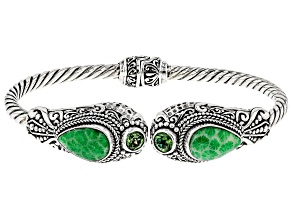 Kelly Green Indonesian Coral Silver Bracelet 0.98ctw
