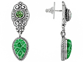 Kelly Green Indonesian Coral Silver Earrings 0.49ctw