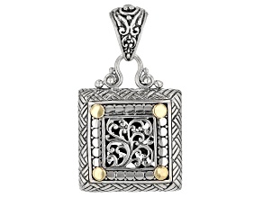 18k Yellow Gold Over Sterling Silver Filigree Square Pendant