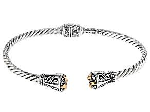 Sterling Silver And 18k Gold Accent Floral Bracelet