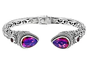 Pink Volcanic Quartz Triplet Sterling Silver Cuff Bracelet .66ctw