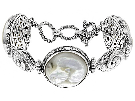 White Mother Of Pearl Sterling Silver Cat Bracelet