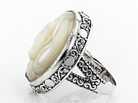 White Mother Of Pearl Sterling Silver Cat Ring