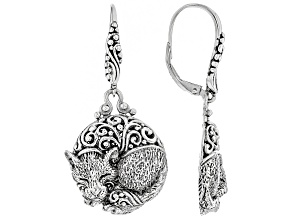 Sterling Silver Cat Dangle Earrings