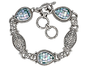 Blue Green Mosaic Mother Of Pearl Silver Bracelet