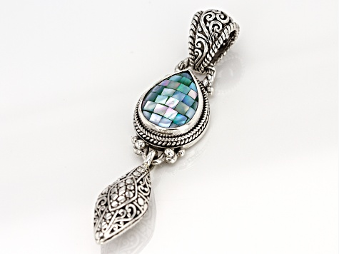 Blue Green Mosaic Mother Of Pearl Silver Pendant