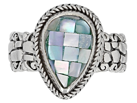 Blue Green Mosaic Mother Of Pearl Silver Ring