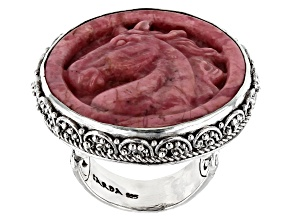 Pink Rhodonite Horse Silver Ring