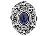 Blue Tanzanite Silver Ring 0.12ctw