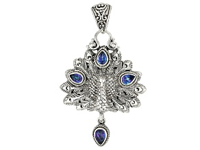 Blue Sheer Luck™ Mystic Topaz® Silver Peacock Pendant 2.01ctw