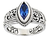 Royal Bali Blue™ Topaz Silver Solitaire Ring 1.02ctw