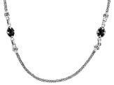 Black Spinel Sterling Silver Snake Chain Necklace 3.07ctw
