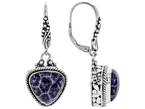 Purple Indonesian Coral Silver Earrings