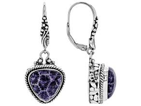 Purple Indonesian Coral Silver Earrings