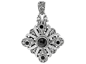 Black Spinel Silver Pendant 4.51ctw