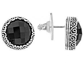Black Spinel Silver Stud Earrings 8.68ctw