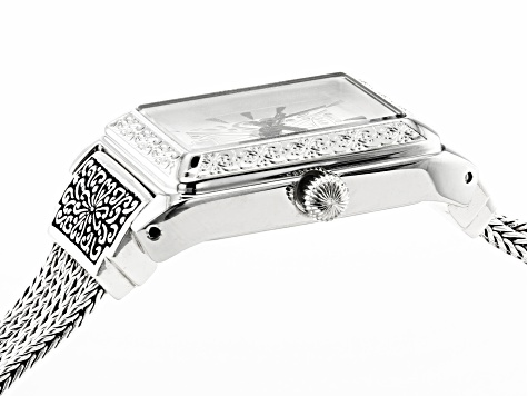 White Mother Of Pearl Dial Sterling Silver Watch