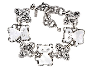 White Mother Of Pearl Cat Silver Bracelet