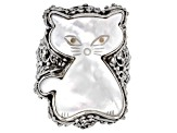 White Mother Of Pearl Cat Silver Ring
