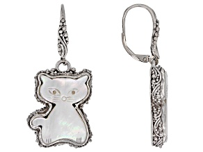 White Mother Of Pearl Cat Silver Earrings