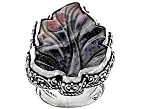 Multicolor Porcelain Jasper Silver Leaf Ring